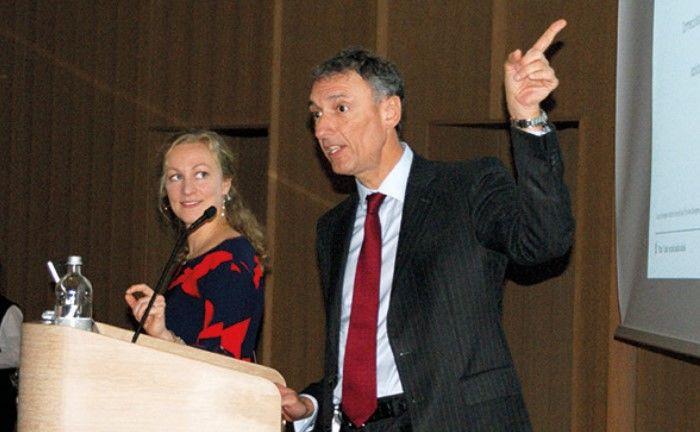 Marie-Laure Schaufelberger (l.) und Alexandre Tavazzi bei der Fragerunde.