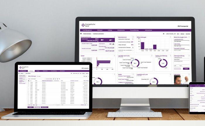 Digitale Banking-Plattform: Das Dashboard zeigt dem Anwender die wichtigsten Informationen an.