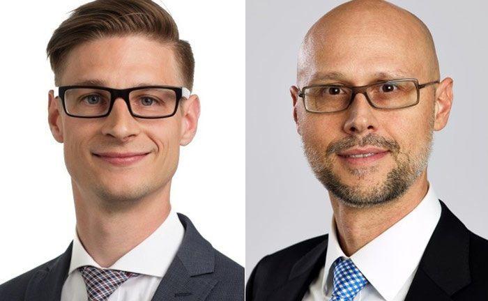 Sascha Hinkel (links) und Michael Günther: Die Fondsmanager von Deka Vermögensmanagement und Tungsten erklären Chancen und Grenzen von Künstlicher Intelligenz im Portfoliomanagement.