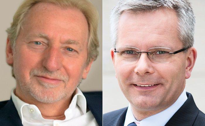 Patrick Rivière (l.) und Dirk Rogowski: Die Chefs der La Française Group und der Veritas-Gruppe haben sich auf eine Übernahme geeinigt.|© La Française Group