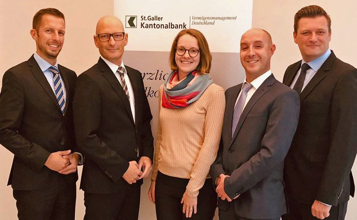 Markus Kellner (v.l.n.r.), Axel Streitberg, Nikita Wehmeyer (Assistenz), Felix Thümmler und Marcel Oeftger.