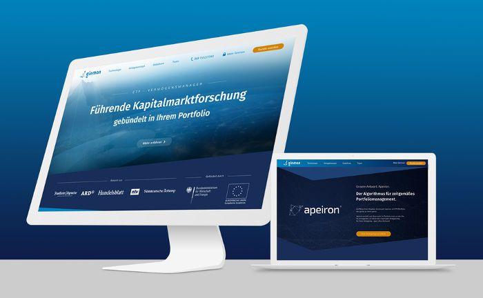 Screenshots der Ginmon-Internetseite: Der Robo-Advisor aus Frankfurt ist aktuell der Erstplatzierte im Echtgeldtest mehrerer digitaler Vermögensverwaltungen, die mithilfe automatisierter Prozesse und Algorithmen Portfolios zusammenstellen, überwachen und anpassen.