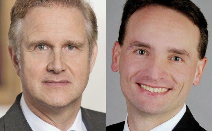 Sven Hoppenhöft (l.) und Frank Eichelmann verlassen das Berenberg Vermögensverwalter-Office.