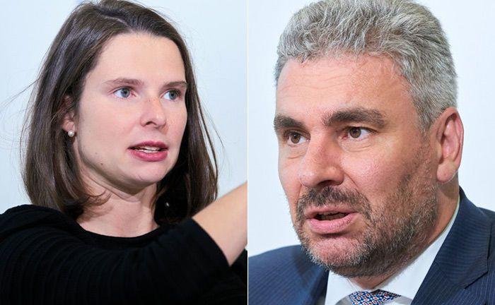 Nadine Hannemann und Axel Sarnitz von der Beratungsfirma zeb.