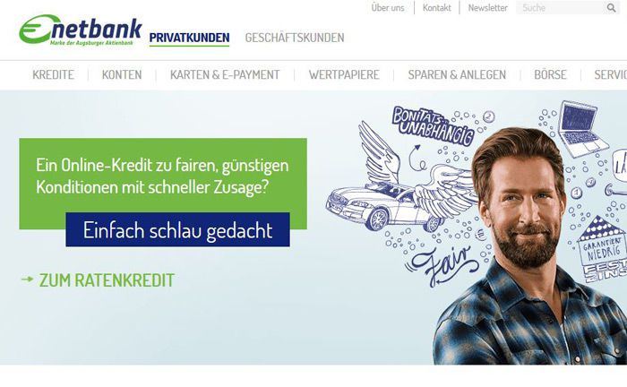 Screenshot der Netbank-Website: Kai Wulff soll in seiner neuen Funktion den Markenauftritt der Augsburger-Aktienbank-Tochter überarbeiten.