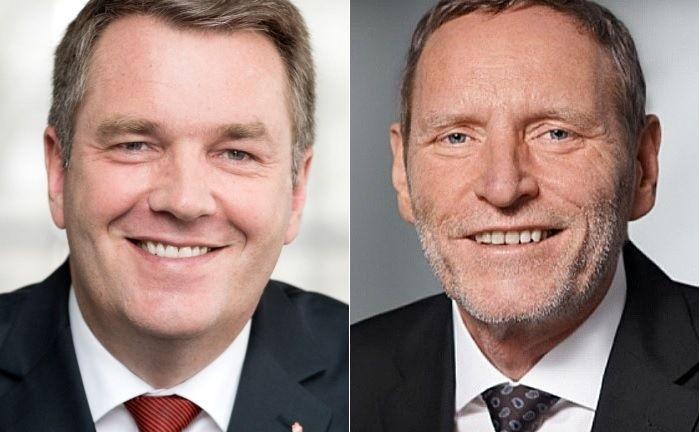 Helmut Schleweis (l.), Präsident des Deutschen Sparkassen- und Giroverbands (DSGV), und Michael Rüdiger, Chef des Sparkassenfondsdienstleisters Deka, sollen die Pläne umsetzen.