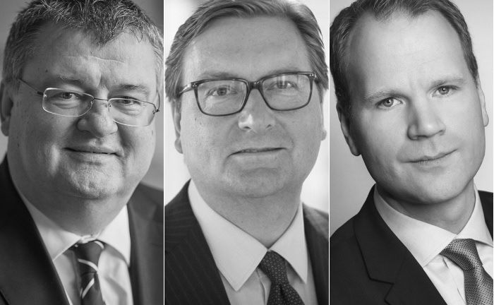 Peter Axmann (v.l.n.r.) von der HSH Nordbank, Martin Mörl von Prelios Immobilien Management, und René Westerheider von Trei Real Estate. | © HSH Nordbank, Prelios Immobilien Management und Trei Real Estate.