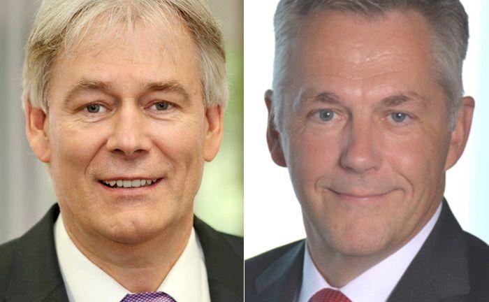 Axel Bartsch (l.) ist Vorstandschef der OLB-Gruppe, Wolfgang Klein sein Stellvertreter. Zweitgenannter kümmert sich im Vorstand des Unternehmens um das Wealth Management mit den beiden Marken OLB und Bankhaus Neelmeyer.|© Oldenburgische Landesbank