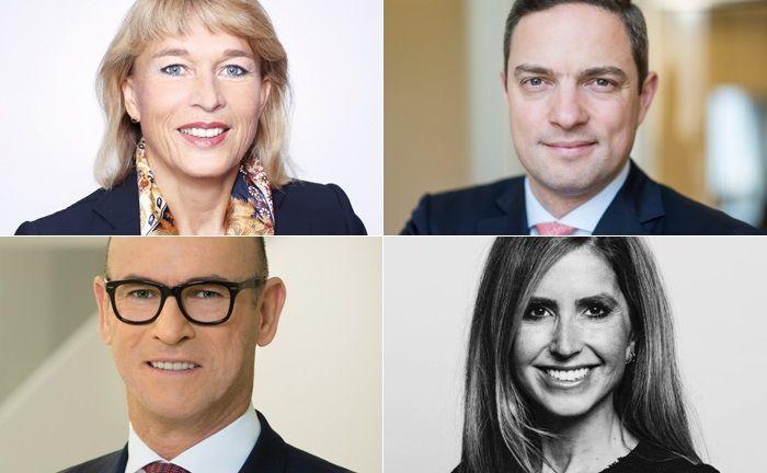 Vier der 20 Top-Personalien, deren berufliche Veränderungen 2018 für Aufsehen sorgten (im Uhrzeigersinn, beginndend links oben): Angela Müller-Valkyser, Dirk von Padberg, Sükriya Aclan und Peter Buschbeck.