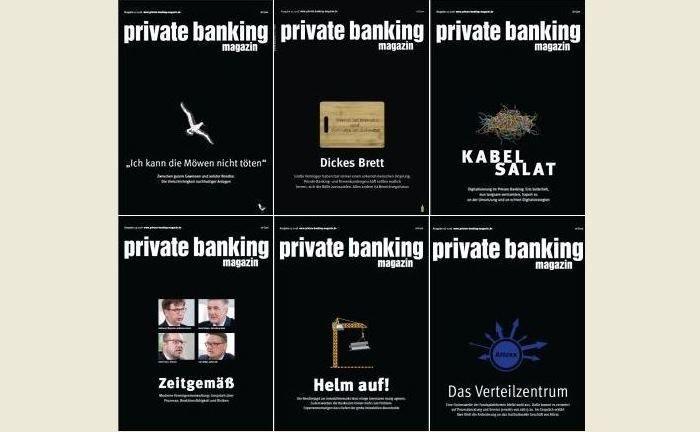 Die Cover der Ausgaben des private banking magazin 2018.|© pbm