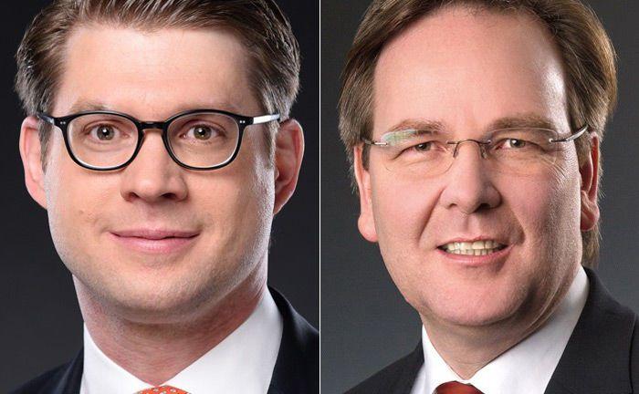 Stefan Ludwig (l.) ist seit 1. Januar 2019 neuer Niederlassungsleiter Hamburg bei Merck Finck Privatbankiers und folgt damit unter anderem auf Carsten Gennrich, der das Institut verlässt.|© Merck Finck Privatbankiers
