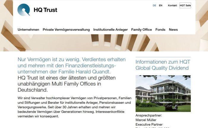 Webseite von HQ Trust