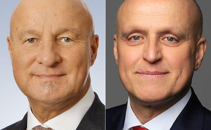Michael Irrle (l.) und Oliver Engl gehen gemeinsam von HSBC Trinkaus & Burkhardt innerhalbs Frankfurt zur Privatbank Merck Finck.