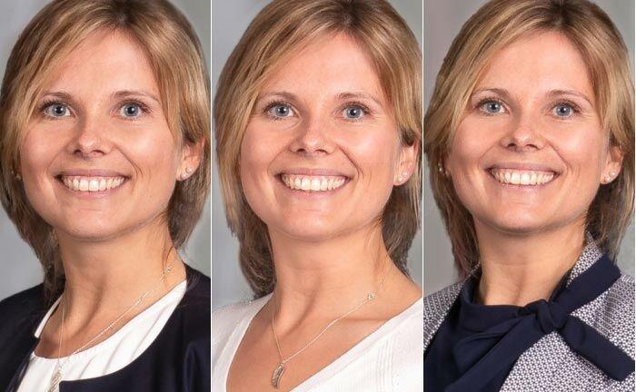 Lena Klein-Steding mal drei: Die stellvertretende Leiterin des Finanzcenters Sossenheim präsentiert die Outfit-Varianten. |© Frankfurter Sparkasse