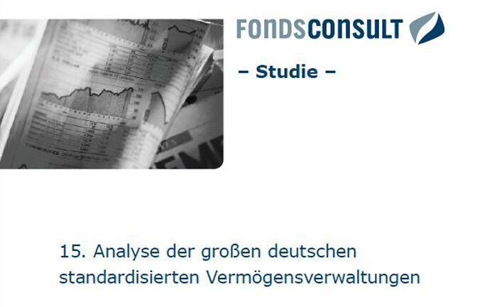 Deckblatt der 15. Fondsconsult-Studie: Das Analysehaus hat erneut die standardisierten Vermögensverwaltungen der fünf größten deutschen Anbieter unter die Lupe genommen.