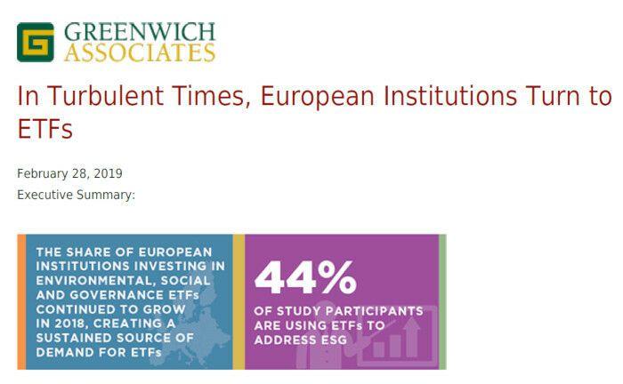 44 Prozent der Befragten gaben an, dass ETFs für sie eines der wesentlichen Anlageinstrumente im Bereich ESG sind.|© Greenwich Associates