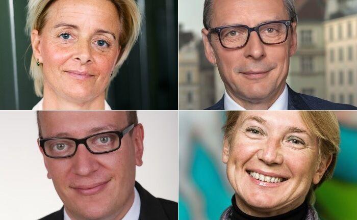 Oben: Valerie Brunner und Wilhelm Celeda, unten Harald Kroeger und Heike Arbter. |© Raiffeisen Centrobank/Kathrein Privatbank