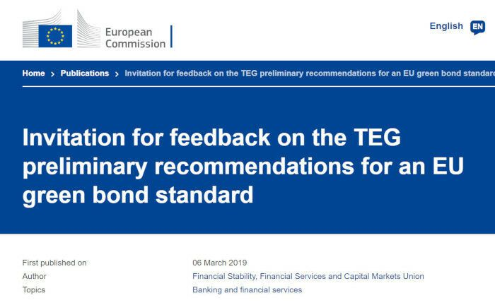 Die Technical Expert Group on Sustainable Finance hat einen Zwischenbericht für die Einführung von Green Bond Standards (GBS) veröffentlicht. | © Screenshot