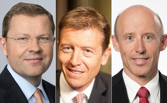 Jürg Zeltner, Paul Arni und Patrik Gisel (v.l.): drei von elf Schweizer Bankchefs, die derzeit ohne Führungsposition sind.