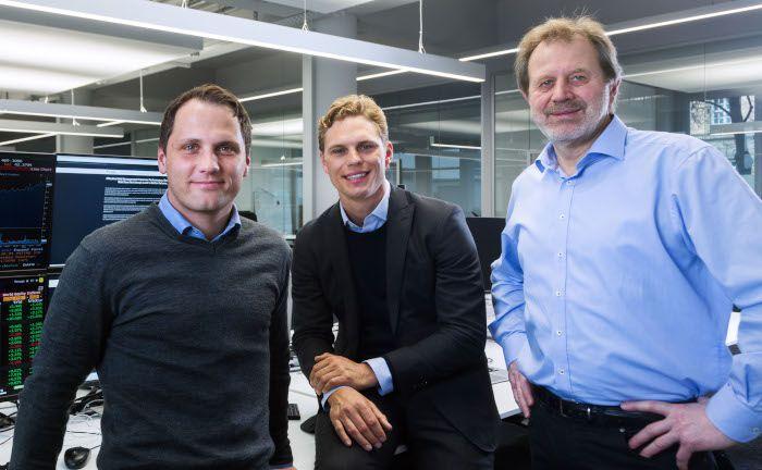 Die Gründer von Scalable Capital: Florian Prucker (v.l.n.r.), Erik Podzuweit und Stefan Mittnik.