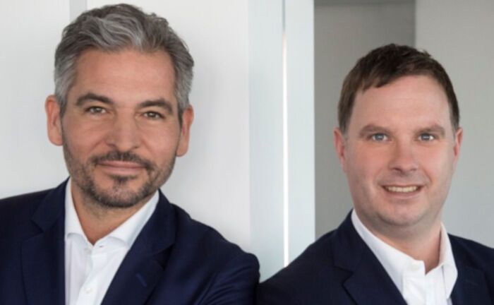Plutos-Vorstände Michael Scholtis (links) und Kai Heinrich (rechts). Das Führungsduo hat bereits bei der Commerzbank zusammengearbeitet.