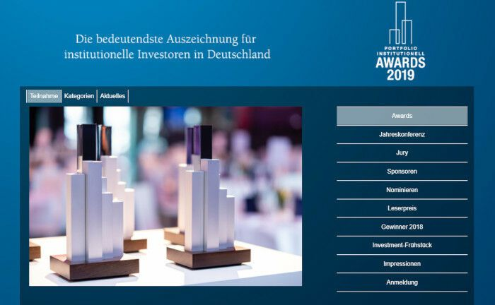 Hier warten sie noch auf die Preisträger: Die Awards von Portfolio Institutionell. |© Screenshot