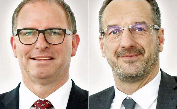 Jörg Mättig (l.),  Direktor Private Banking der Ostsächsische Sparkasse Dresden und Jens Kobarg, als stellvertretendes Vorstandsmitglied zuständig für die Geschäftsfelder Unternehmenskunden und Private Banking.