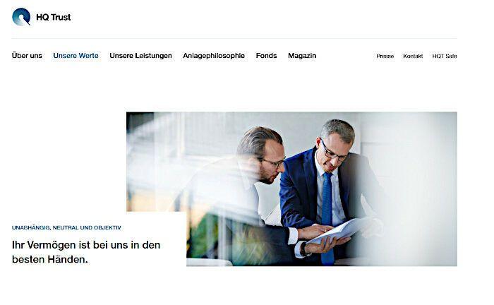 Webseite von HQ Trust: Das Multi Family Office der Familie Harald Quandt sucht einen neuen Leiter Immobilien.