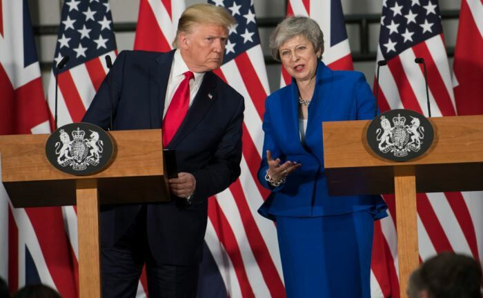 Donald Trump und Theresa May in London.