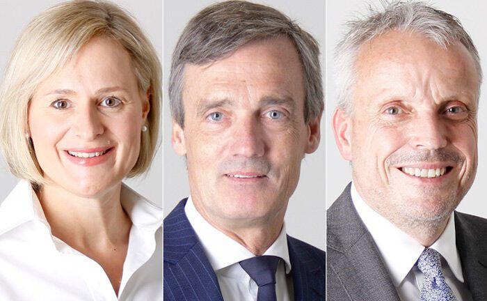 Norden, Mitte. Süden: In dieser Reihenfolge verantworten Sandra Duttke, Peter Klose und Klaus Sojer (r.) die Private-Banking-Regionen der Privatbank M.M. Waburg & Co.|© M.M. Warburg & Co