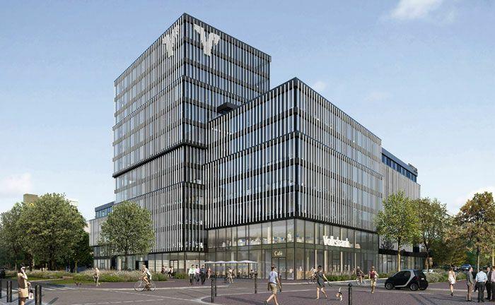 Visualisierung des zukünftigen Areals der Volksbank Freiburg an der Bismarckallee. Die neuen Räumlichkeiten sollen 2021 fertig sein.