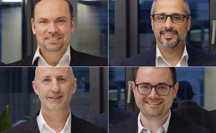 Das Portfoliomanagement-Team rund um Geschäftsführer Christian Sammet (links oben).Im Uhrzeigersinn: Elio Ballerini, Sven Schmeier und Valentin Häusser.|© Volker Banaditsch