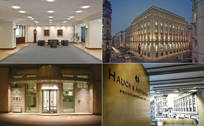 Die Berenberg Bank (im Uhrzeigersinn, beginnend links oben), M.M. Warburg & Co, das Bankhaus Metzler und Hauch & Aufhäuser Privatbankiers.