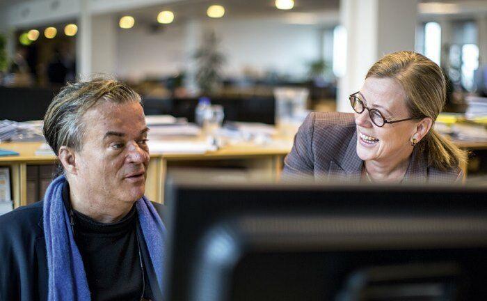 Austausch über nachhaltiges Investieren: Ivan Larsen, Portfoliomanager Danske Invest, im Gespräch mit Ulrika Hasselgren, globale Leiterin für Nachhaltigkeit bei Danske Invest.|© Danske Invest