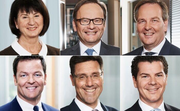 Adelheid Büchl (von links oben im Uhrzeigersinn), André Enders, Carsten Gennrich, Frank Herrmann, Christoph Neu und Sebastian Sattelberger. |© Frankfurter Bankgesellschaft (Deutschland)