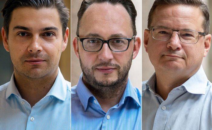 Alexander Rapatz (l.) und Christian Platzer (Mitte) sind die Gründer von Black Manta Capital Partners. Martin Steininger leitet den neuen Deutschland-Standort des Blockchain-Unternehmens.