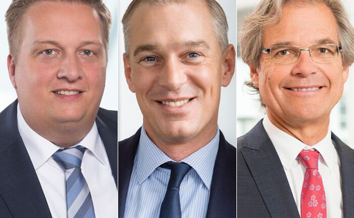 Drei Top-Vermögensverwalter mit der Höchstnote von fünf Sternen: Torsten Reidel (l.), Geschäftsführer von Grüner Fisher Investments, Liqid-Chef Christian Schneider-Sickert (M.) und Thomas Acker, Geschäftsführer von Spiekermann & Co.