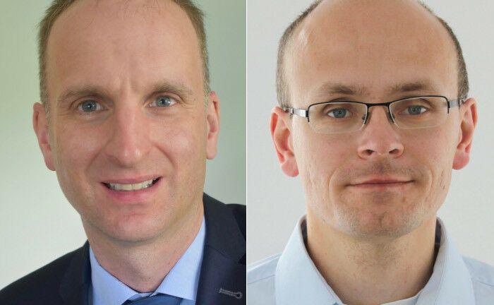 Christoph Kiehn (li.) und Kamil Sander arbeiten bei den Sozialkassen der Bauwirtschaft (Soka-Bau).