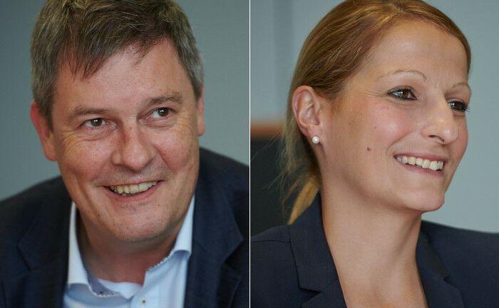 Gregor Asshoff ist Vorstandsmitglied, Maria Leitzbach leitet das Portfoliomanagement der Soka-Bau