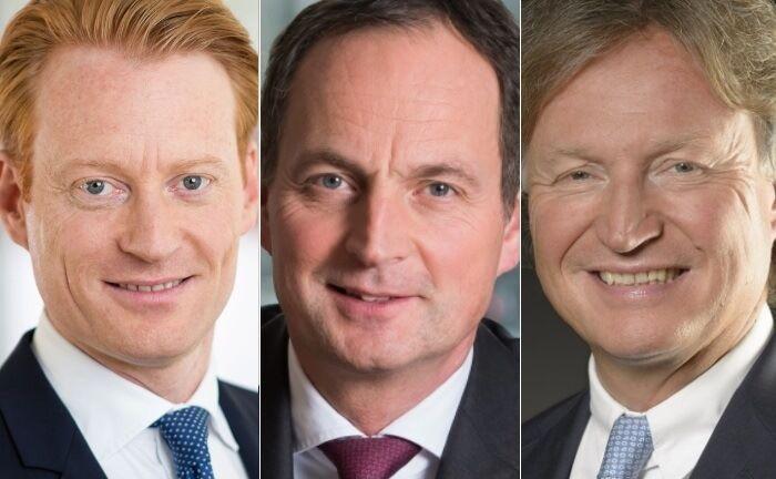 Künftig nur noch zu zweit: Merck-Finck-Vorstand Olivier Kuetgens (v.l.), Vorstandschef Matthias Schellenberg und der scheidende Michael Krume.