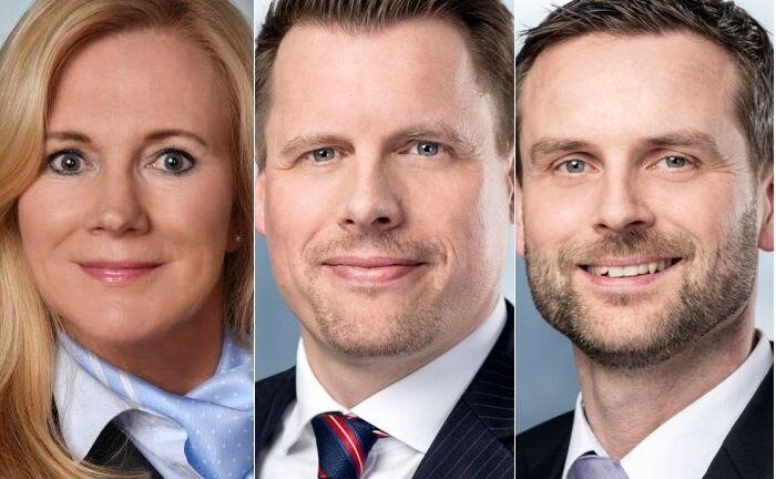 Die Neuen bei Merck Finck in Hamburg: Elke Timm (v.l.), Martin Gelübcke und Thomas Boss.