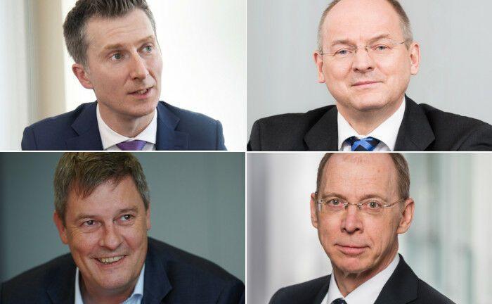 Gefragte Personen 2019 (im Uhrzeigersinn, beginnend links oben): Sascha Pinger (Versorgungswerk WPV), Rainer Jakubowski (Versicherungsverein des Bankgewerbes, BVV), Frank Grund (Bafin), Gregor Asshoff (Soka-Bau)