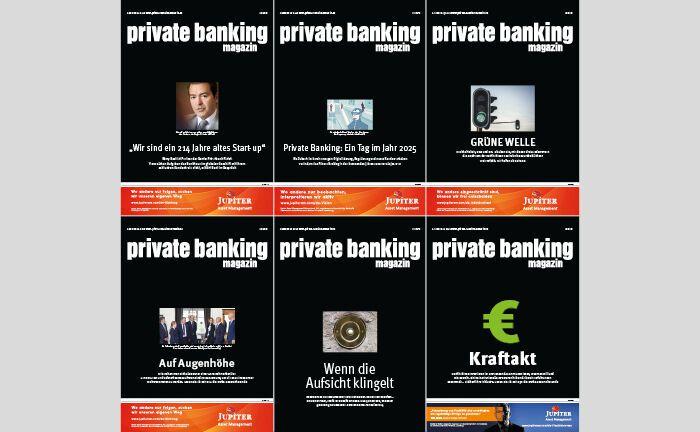 Die gesammelten Cover der Ausgaben des private banking magazin 2019 in der Übersicht. |© pbm