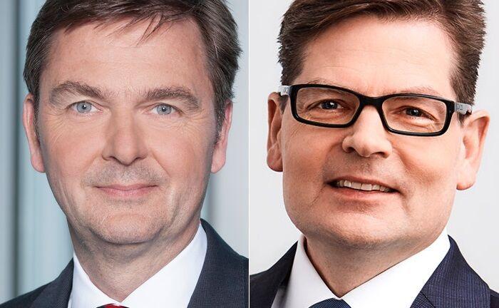Andre Carls (l.) kehrt in Commerzbank-Region West zurück, Arno Walter übernimmt seine zentrale Funktion als Bereichsvorstand Wealth Management & Unternehmerkunden.|© Commerzbank