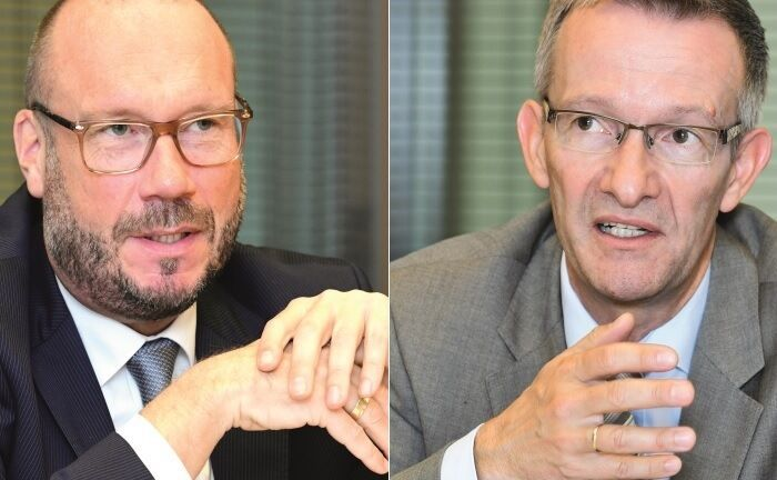 Werner Lorbach (l.) von der Pax-Bank und Thomas Hoyer, Vorstandschef der Caritas-Stiftung im Erzbistum Köln.