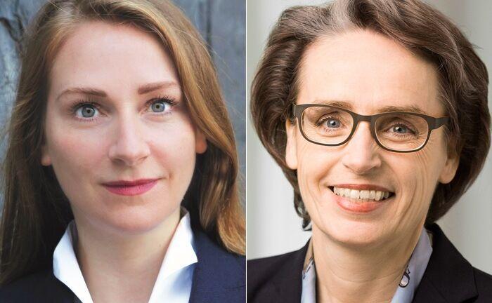 Rechtsanwältin und Steuerberaterin Maren Gräfe (l.) arbeitet als Partnerin bei BDO in München. Karin Ebel, ebenfalls Rechtsanwältin und Steuerberaterin, ist Partnerin bei der Unternehmensberatung Peter May Family Business Consulting