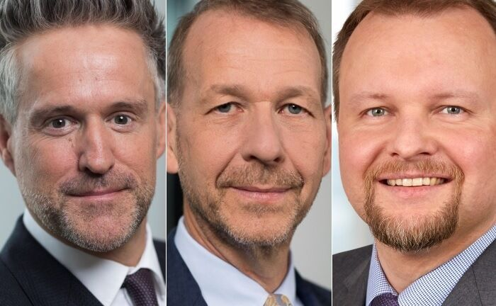 Jürgen Wiedmann (l.), Christian Popp (M.) und Dirk Krupper. |© Helaba Invest