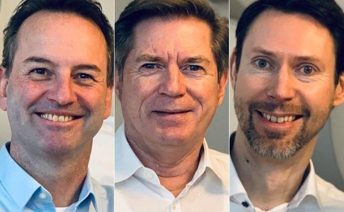 Bilden den Vorstand des Unternehmens: Neuzugang Stefan Schneider (l.), Axxion-Gründer Thomas Amend und der langjährige Geschäftsführer Pierre Girardet.