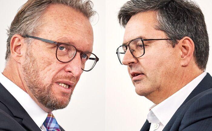 Robert Fuchsgruber (l.) leitet den B2B-Geschäftsbereich der DAB BNP Paribas. Andreas Kitta ist Geschäftsführer der Vermögensverwaltung Albrecht, Kitta & Co.