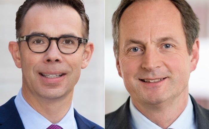 Thomas Rodermann (l.) soll die Nachfolge von Matthias Schellenberg übernehmen, der für eine weitere Amtszeit als Vorstandsvorsitzender der Privatbank Merck Finck ab 2021 nicht mehr zur Verfügung steht.|© UBS, Merck Finck
